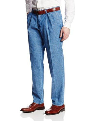 Lee Men's Stain Resistant Relaxed Fit Pleated Denim Pant, Stonewash, 36W x 30L