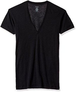 2(X)IST Men's Pima Cotton Slim Fit Deep V-neck T-shirt Underwear, black, LG