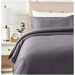 Amazonbasics 400 Thread Count Cotton Duvet Cover Set With Sateen Finish - Twin/Twin Xl, Dark Grey