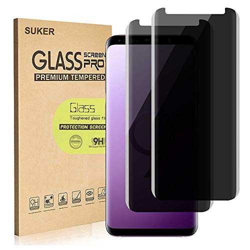 "[2-Pack] SUKER Galaxy S9 Privacy Tempered Glass Anti-Spy Screen Protector [3D Curved] [Case Friendly] [9H Hardness] for Samsung Galaxy S9 (5.8""), Anti-Scratch, Bubble Free"