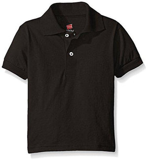 Hanes Big Boys' Short Sleeve Eco Smart Jersey Polo, Black, X-Large