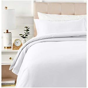 Amazonbasics 400 Thread Count Cotton Duvet Cover Set With Sateen Finish - Twin/Twin Xl, White