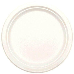 Amscan 690002.08 Natural Sugar Cane Round Plate, 50 Pieces, White