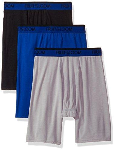 Fruit of the Loom Men's 3-Pack Premium Cool Blend Long Leg Boxer Brief, Assorted X-Large