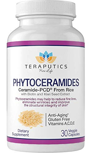 Phytoceramides Ceramide-PCDå¨ Made from Rice - w/Biotin and Kiwi Seed - Non GMO Gluten Free Hair Skin and Nails Vitamin, Reduce Fine Lines & Wrinkles, Strengthen Hair & Nails, 30 Veggie Capsules