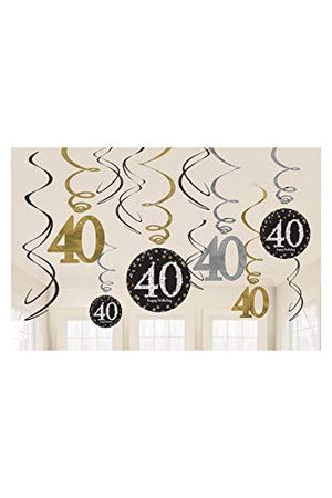 Amscan Sparkling Celebration 40 Value Pack Foil Swirl Decorations, Party Decor, Multicolor, One Size, 12Ct