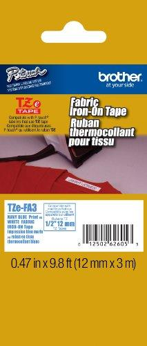 Brother Fabric 1/2 Inch Iron-On Tape - , Navy Blue On White (Tzefa3) -