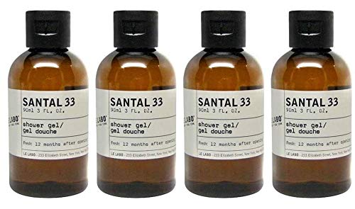 Le Labo Santal 33 Shower Gel - Set of 4, 3 Ounce Bottles - 12 Fluid Ounces Total Plus Amenity Pouch