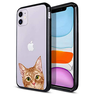 FINCIBO Case Compatible with Apple iPhone 11 6.1 inch 2019, Slim Shock Absorbing TPU Bumper + Clear Hard Protective Case Cover for iPhone 11 (NOT FIT 11 Pro) - Orange Tabby Kitten Cat