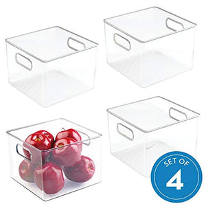 "iDesign Plastic Fridge and Pantry Storage Bins, Organizer Container for Kitchen, Bathroom, Office, Craft Room, BPA-Free, 8"" x 8"" x 6"", Set of 4, Clear"