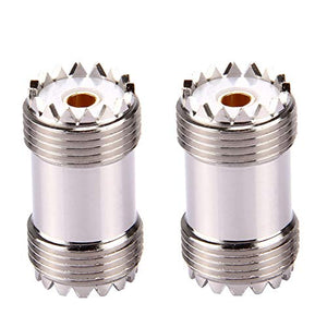 SLTS 2PCS UHF Female to UHF Female Coaxial Cable Connector PL-259 UHF Double Female Adapter Plug S0-239