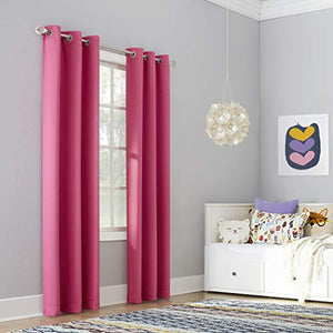 "Sun Zero Riley Kids Bedroom Blackout Grommet Curtain Panel, 40"" x 84"", Pink"