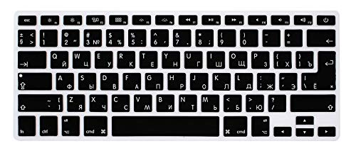 "WYGCH Russian Language Keyboard Cover Compatible MacBook Pro 13"" 15"" 17"" (with or w/Out Retina Display) Silicone Skin for iMac and MacBook Air 13"",USA and European Version-Russian/English Cyrillic"