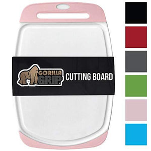 Gorilla Grip Original Reversible Cutting Board Large Size (16 x 112) For Kitchen Chef Professional (Pink)
