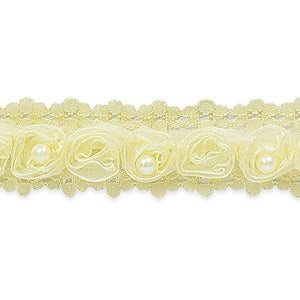Expo International Jill Ribbon Rosette And Pearl Trim, 10 Yd, Ivory