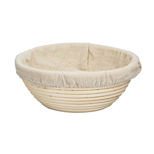 Agile-Shop 8 inch Round Banneton Brotform Bread Dough Proofing Rising Rattan Handmade Basket & Linen Liner Cloth