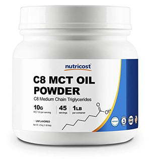 Nutricost C8 MCT Oil Powder 1LB (16oz) - 95% C8 MCT Oil Powder