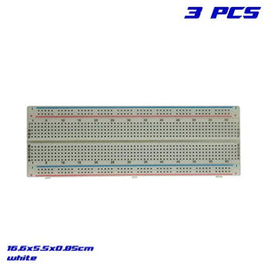 RobotDyn - Solderless Prototype Breadboard Self-Adhesive (3 PCS), Size: 16.6x5.5x0.85cm, 830 Points, White, for Arduino, Raspberry Pi, STM32