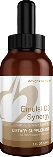Designs for Health 2000 IU Vitamin D Drops with K1 + K2 - Emulsi-D3 Synergy (59 Servings / 2oz)