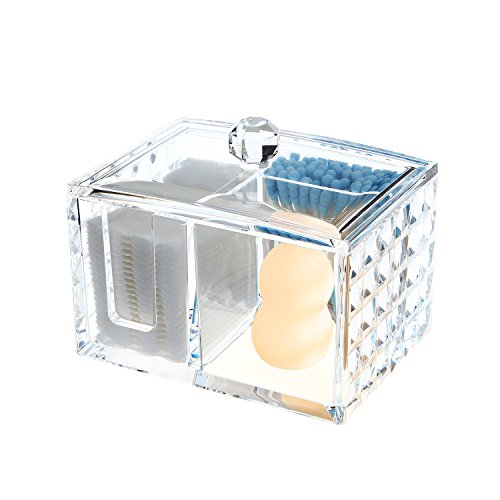 Ouyatong Clear Acrylic Cotton Pads Holder, Cotton Ball and Cotton Swabs Holder with lid for Bathroom and Bedroom,3 Storage Compartments (Small)