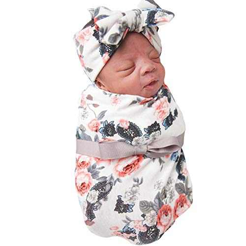 DRESHOW BQUBO Newborn Baby Receiving Blankets Newborn Baby Floral Swaddling with Headbands or Hats Infant Sleepsack