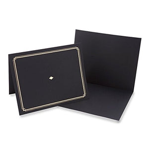 "Gartner Studios Certificate Holder, Black with Gold Foil Detail, Fits 8.5"" x 11"" Documents, 6 Count"
