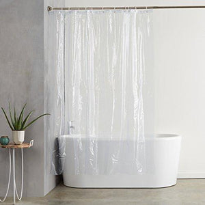 Amazonbasics Heavyweight Clear Shower Curtain Liner With Hooks 20 Gauge - 72 X 72 Inches