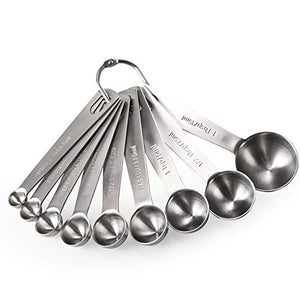 U-Taste Measuring Spoons: U-Taste 18/8 Stainless Steel Measuring Spoons Set of 9 Piece: 1/16 tsp, 1/8 tsp, 1/4 tsp, 1/3 tsp, 1/2 tsp, 3/4 tsp, 1 tsp, 1/2 tbsp & 1 tbsp Dry and Liquid Ingredients