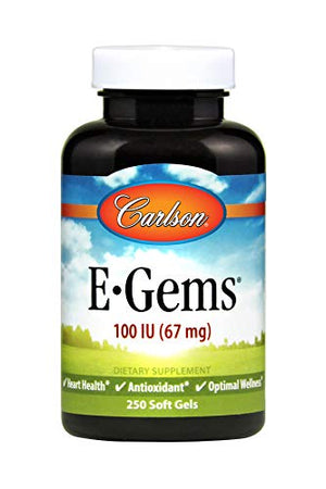 Carlson E-Gems, 100 Iu, Heart Health & Optimal Wellness, Antioxidant, 250 Soft Gels