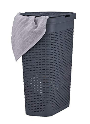 Superio Narrow Laundry Hamper 40 Liter With Easy Lid, Slim and Tall, Grey Durable Wicker Hamper, Washing Bin with Cutout Handles - Dirty Cloths Storage in Bathroom or Bedroom Apartment, Dorms