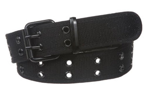 "Double Hole Grommets Canvas Web Belt, Black | l (35""~37"" waist)"