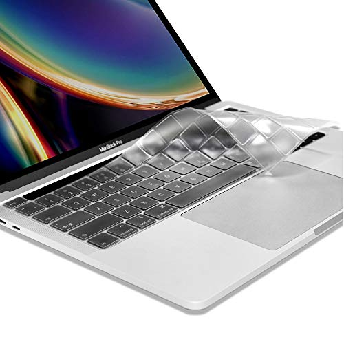 ProElife Ultra Thin TPU Keyboard Cover Skin for 2020 MacBook Pro 13-Inch (Model: A2289/A2251) and 2019 MacBook Pro 16-Inch (Model: A2141) US Layout Keyboard Accessories Protector (Clear)