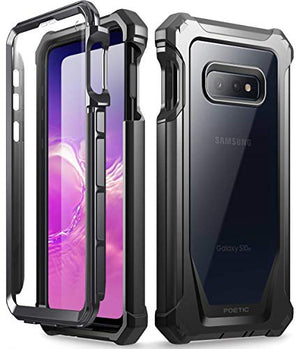 Galaxy S10e Rugged Clear Case, Poetic Full-Body Hybrid Bumper Cover, Support Wireless Charging, Includes Built-in-Screen Protector, Guardian Series, Case for Samsung Galaxy S10e 2019, Black