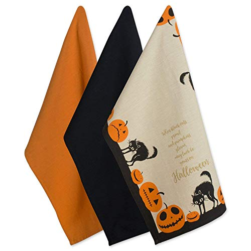 Dii 100% Cotton Oversized Decorative Halloween Holiday Printed Dish Towels 18X28 Set Of 3