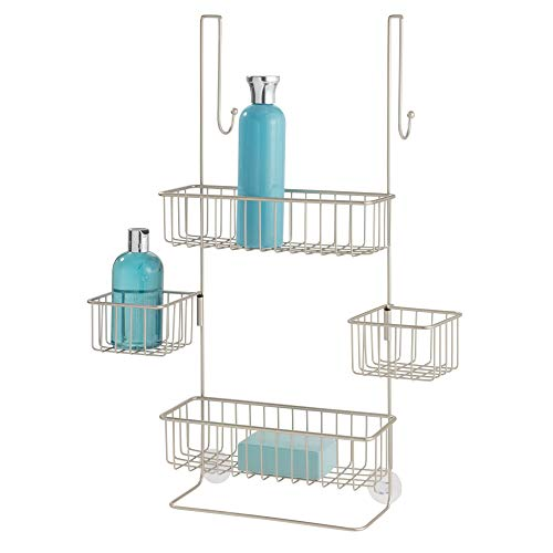 "iDesign Metalo Bathroom Over the Door Shower Caddy with Swivel Storage Baskets for Shampoo, Conditioner, Soap, 22.7"" x 10.5"" x 8.2"", Matte Satin"