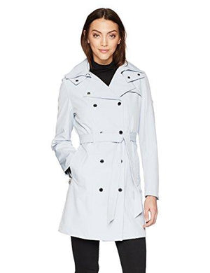 Calvin Klein Women's Double Breasted Rain Jacket with Hood , powder blue, S