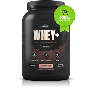 Legion Whey+ Strawberry Banana Whey Isolate Protein Powder from Grass Fed Cows - Low Carb, Low Calorie, Non-GMO, Lactose Free, Gluten Free, Sugar Free. Great for Weight Loss & Bodybuilding, 30 Svgs.