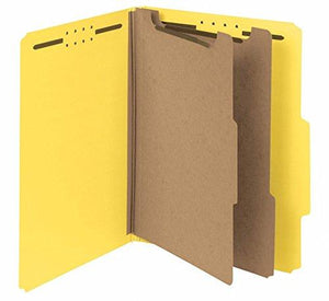 Smead 100 Percent Recycled Pressboard Classification Folder, 2 Dividers, 2-Inch Expansion, Letter Size, Yellow, 10 Per Box