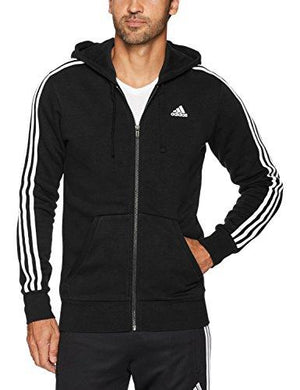 adidas Men's Essentials 3-Stripe Full Zip Fleece Hoodie, Black/White, Small