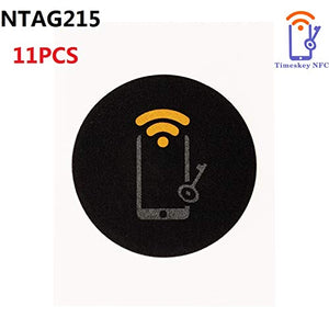 11 x Black NTAG215 NFC Stickers Tags 25MM (1 Inch Round 504 Bytes NTAG 215 NFC Labels 100% Compatible with TagMo and Amiibo, Works with All NFC Enable Phones-Timeskey NFC