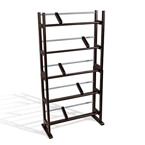 Atlantic Element Media Storage Rack - Holds Up to 230 Cds or 150 Dvds, Contemporary Wood & Metal Design with Wide Feet for Greater Stability, PN35535601 In Espresso