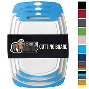 Gorilla Grip Original Reversible Cutting Board (3Piece) Extra Large Kitchen (Set of Three Aqua)