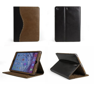 "Bear Motion Buffalo Hide Leather Case For Apple Ipad Air 1 And New Ipad 2017 €"" Curve Brown / Brown"