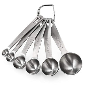 U-Taste Measuring Spoons: U-Taste 18/8 Stainless Steel Measuring Spoons Set of 6 Piece: 1/8 tsp, 1/4 tsp, 1/2 tsp, 1 tsp, 1/2 tbsp & 1 tbsp Dry and Liquid Ingredients