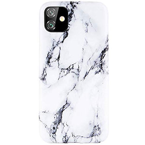 "Reejax iPhone 11 Case 6.1"" Case with Glass Screen Protector, White Black Marble for Girls Women Best Protective Slim Fit Clear Bumper Glossy TPU Soft Silicon Cover Phone Case for iPhone 11 Case 6.1"""