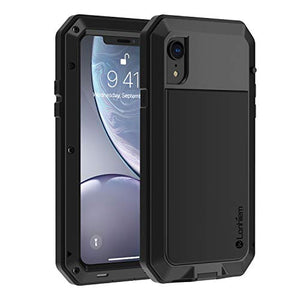 "Lanhiem iPhone XR Case, Heavy Duty Shockproof [Tough Armour] Metal Case with Built-in Screen Protector, 360 Full Body Protective Cover for iPhone XR (6.1"" 2018), Dust Proof Design -Black"