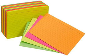 Amazonbasics Ruled Index Cards, Assorted Neon, 4X6-Inch, 300-Count