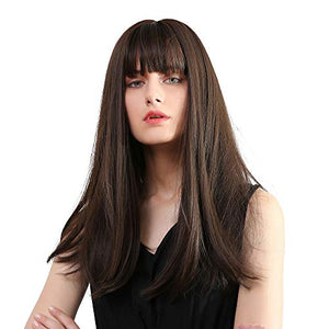 "Black Brown Wigs 22""Long synthetic wig with High Density Natural headline Heat Permanent hair wigs for women"