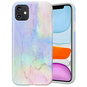 Caka Case for iPhone 11 Marble Case for Girls Women Protective Shockproof Soft Rubber TPU Slim Flexible Anti Scratch Fashion Luxury Marble Case for iPhone 11 (6.1 inch)(2019)(Opal)