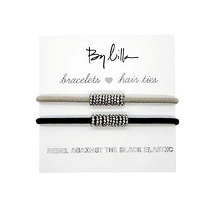 By Lilla Shaker Elastic Hair Ties And Bracelets | Set Of Two Hair Tie-Bracelets | Hair Accessories For Women | No Crease Hair Ties & Women'S Bracelets (Black/Starfish/Silver)
